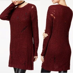 Planet Gold Ripped Sweater Tunic In Red Windsor